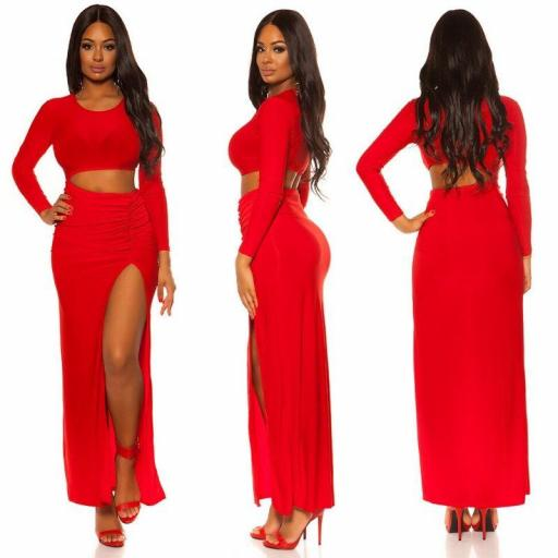 Vestido largo rojo con abertura