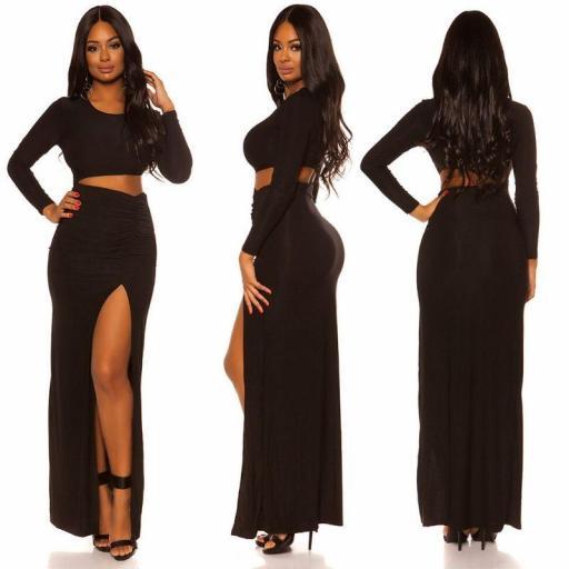 Vestido largo negro con abertura