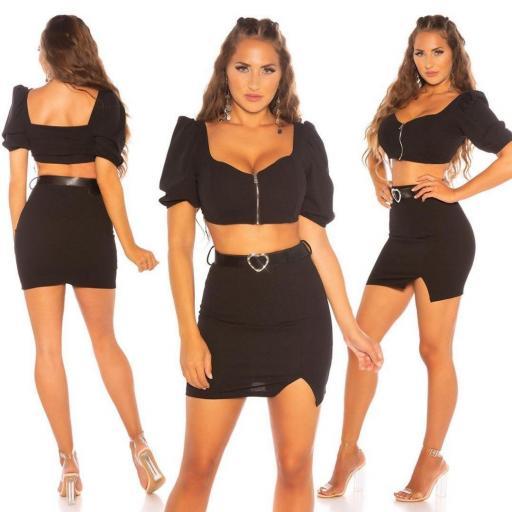 Girly set de falda y top negro