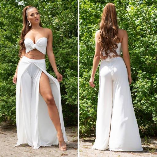 Pantalón abiertos más top blanco