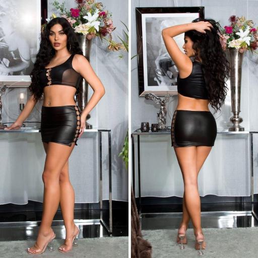 Falda y top con hebillas sexy  [3]