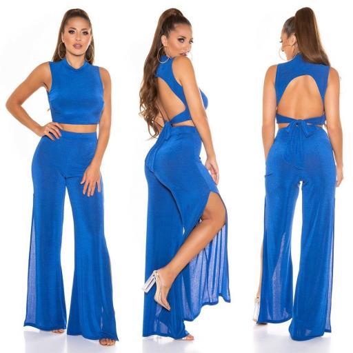 Conjunto top crop más pantalón azul