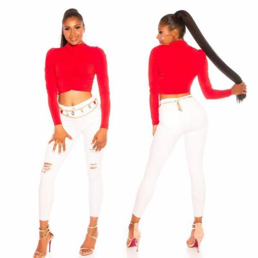 Crop top de mangas y pliegues rojo