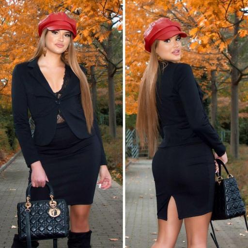 Falda negra cintura alta business