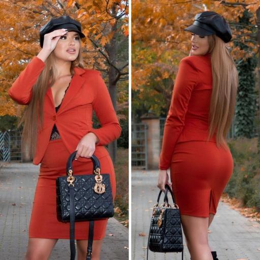 Falda naranja cintura alta