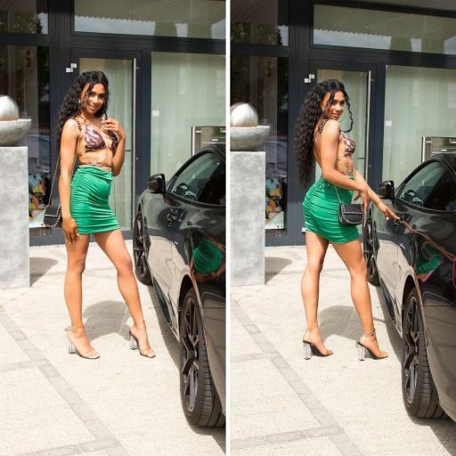 Falda cintura alta sexy verde