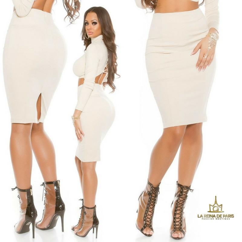 Falda de tubo beige de moda