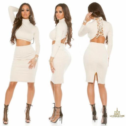 Falda de tubo beige de moda [1]