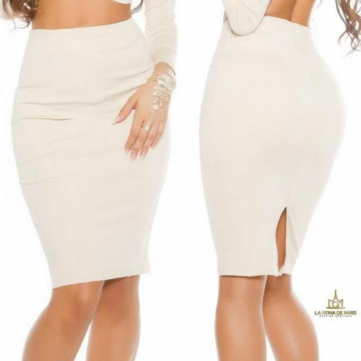 Falda de tubo beige de moda [3]