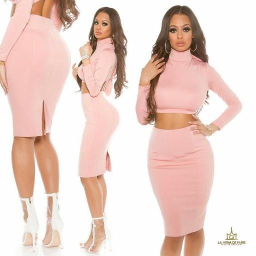 Falda de tubo rosa de moda