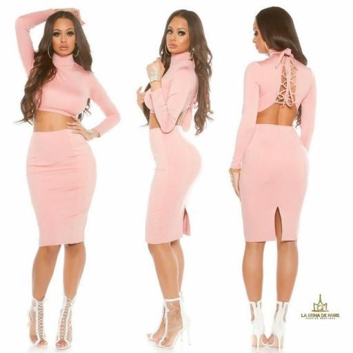 Falda de tubo rosa de moda [1]