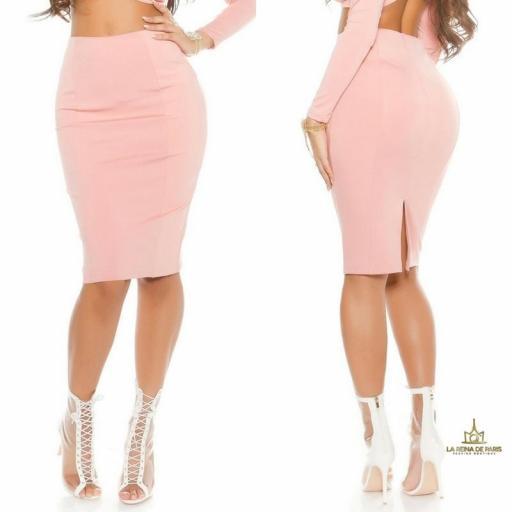 Falda de tubo rosa de moda [3]