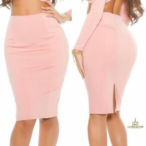 Falda de tubo rosa de moda [2]