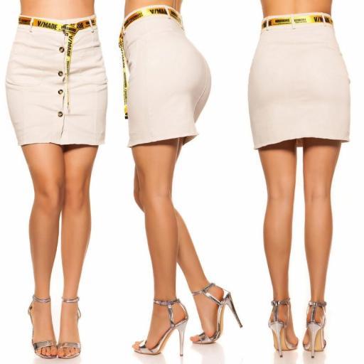 Falda con botones y cinturón beige [1]