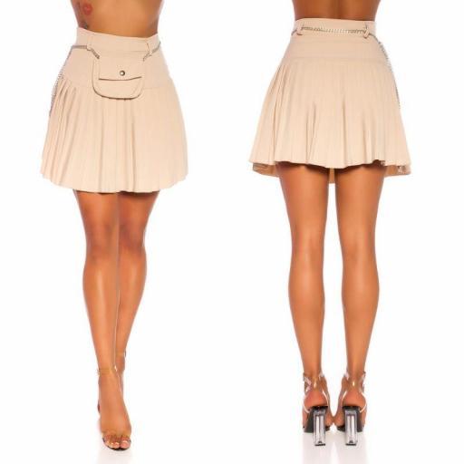 Falda plisada con riñonera beige [2]