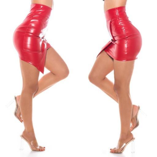Falda asimétrica roja cuero imitación   [2]