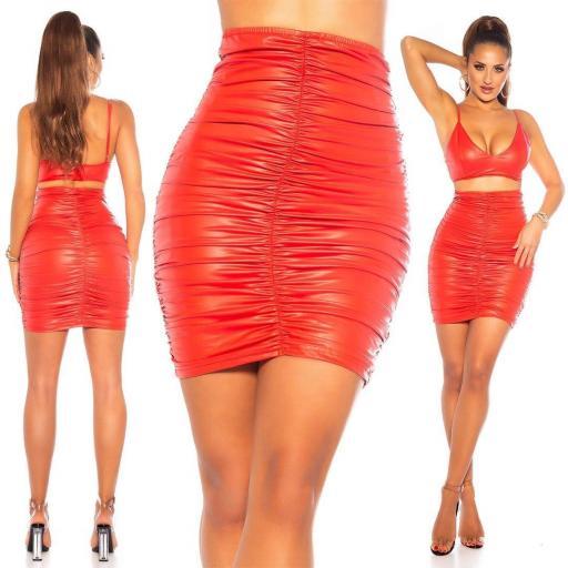 Falda cuero fruncido rojo
