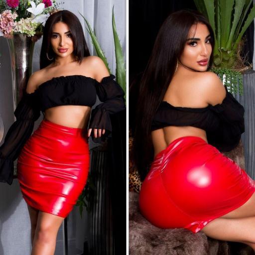 Falda de cuero de imitación roja  [3]