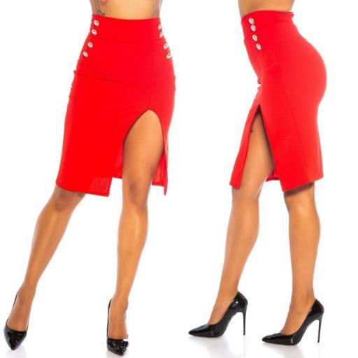 Falda lápiz roja con botones  [2]