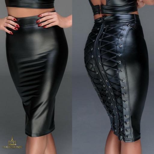 Falda ajustada cuero efecto
