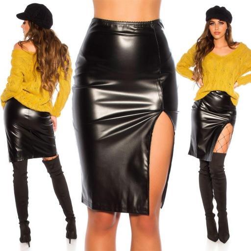 Falda negro cuero sintético