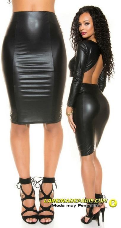 Falda lápiz de aspecto de cuero negro