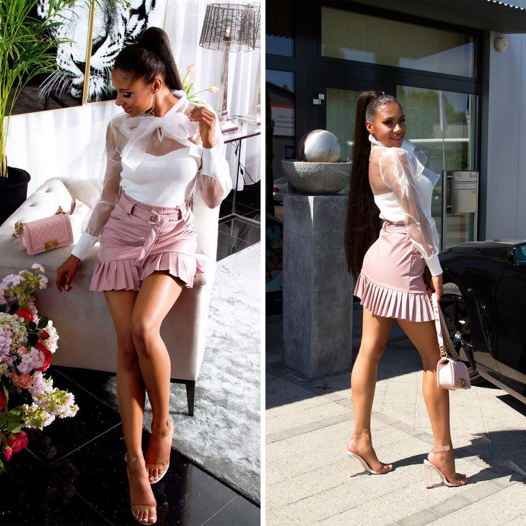 Falda de cuero plisada rosa