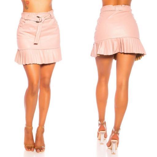 Falda de cuero plisada rosa [2]