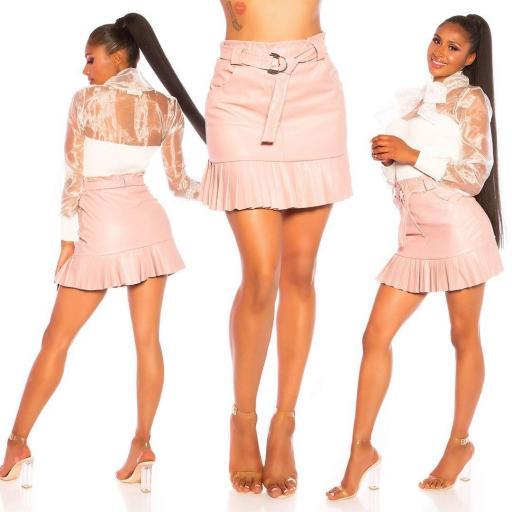 Falda de cuero plisada rosa [3]