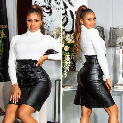Falda cintura alta cuero negro