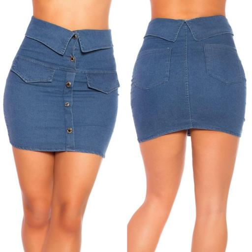 Falda jean azul oscuro