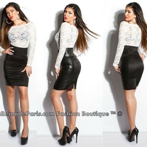 Falda negra talle alto elegante Lynsie  [3]