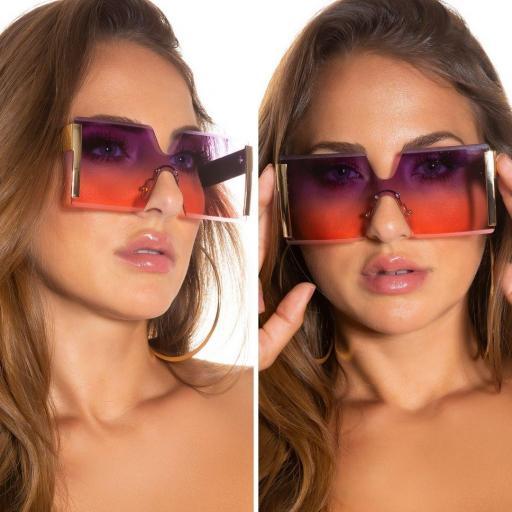 Gafas rectangulares en púrpura