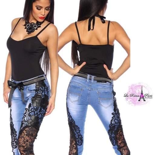 Jeans piratas con encaje Aysel negro [1]