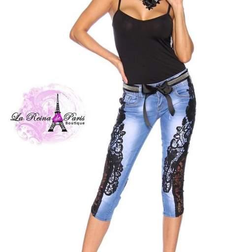 Jeans piratas con encaje Aysel negro [2]