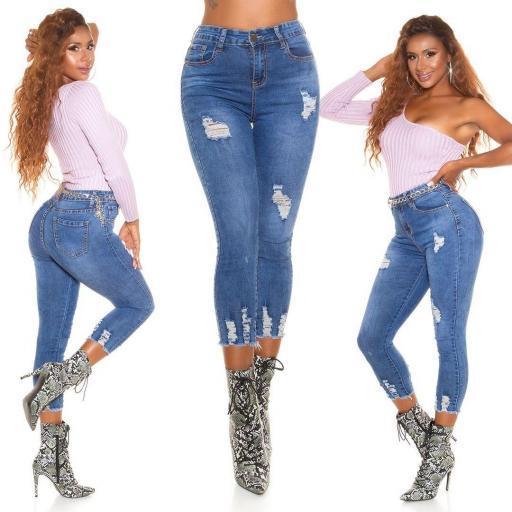 Jean de moda de cintura alta rasgados