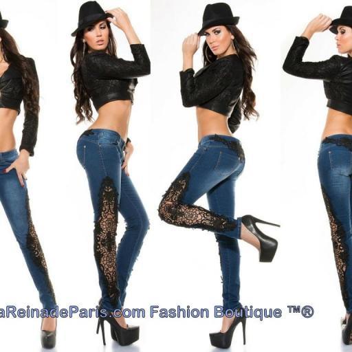Jeans pitillo con ganchillo Rayen [3]