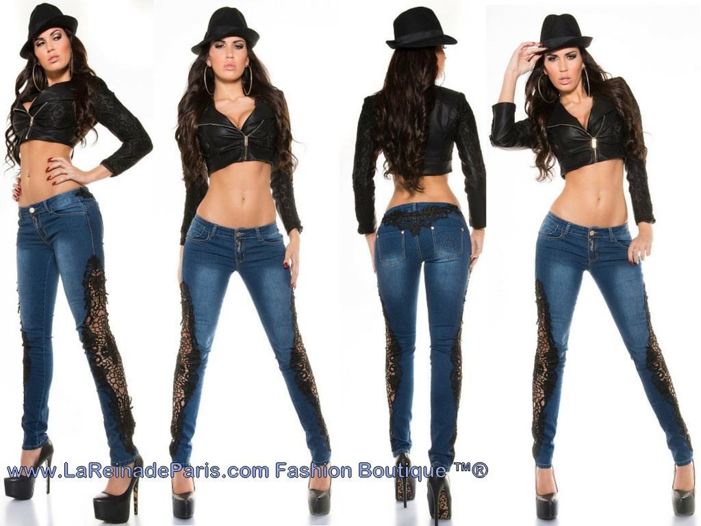 Jeans pitillo con ganchillo Rayen