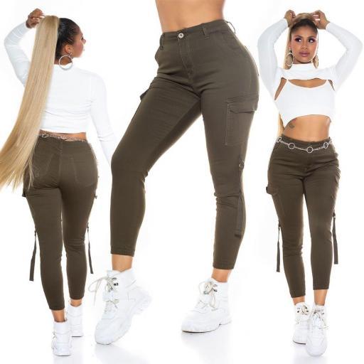 Jeans cargo cintura alta khaki