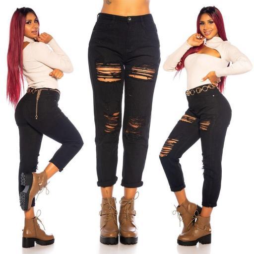 Jeans mon fit rasgados en negro