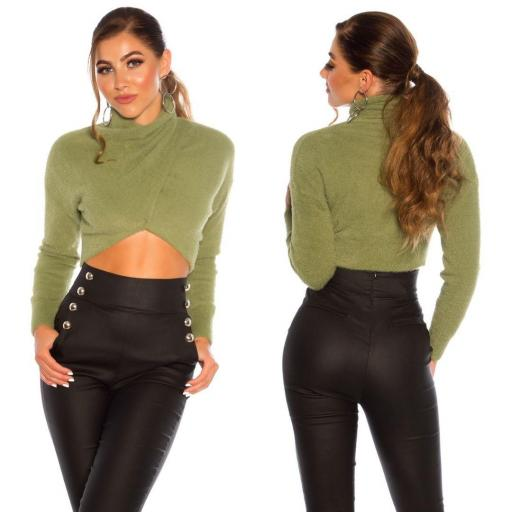 Suéter corto recortado khaki [1]