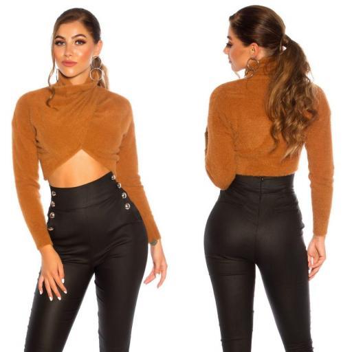 Suéter corto recortado bronce [1]