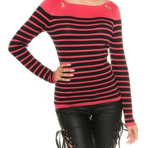 Jersey moda mujer diseño rayado bicolor