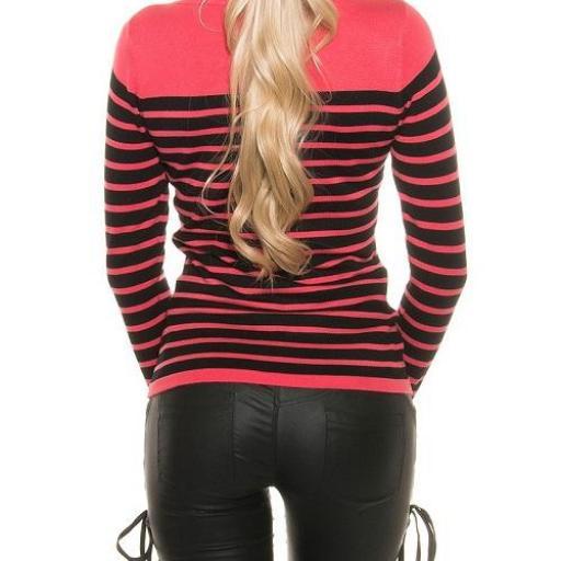 Jersey moda mujer diseño rayado bicolor [1]