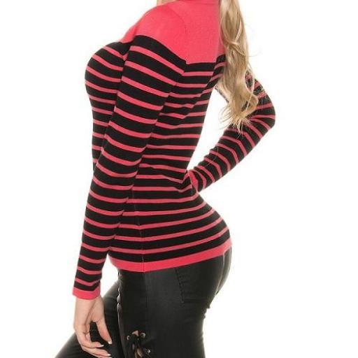 Jersey moda mujer diseño rayado bicolor [2]