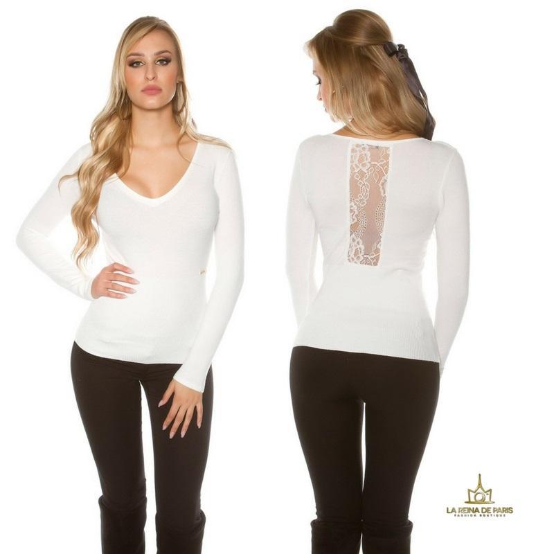 Jersey blanco básico con encaje