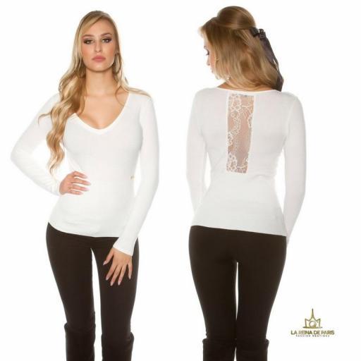 Jersey blanco básico con encaje  [0]