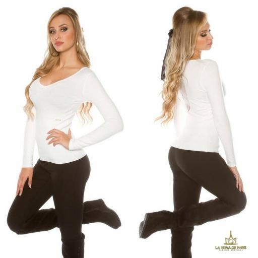 Jersey blanco básico con encaje  [1]