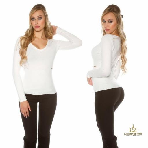 Jersey blanco básico con encaje  [2]
