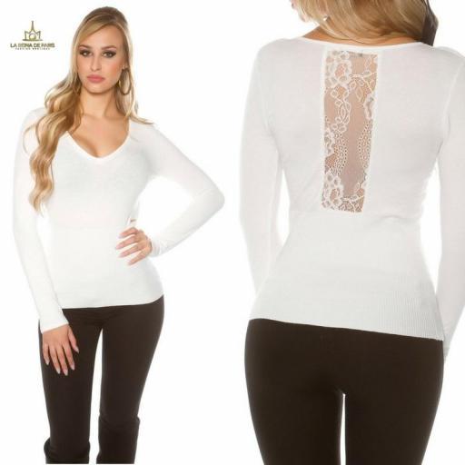 Jersey blanco básico con encaje  [3]